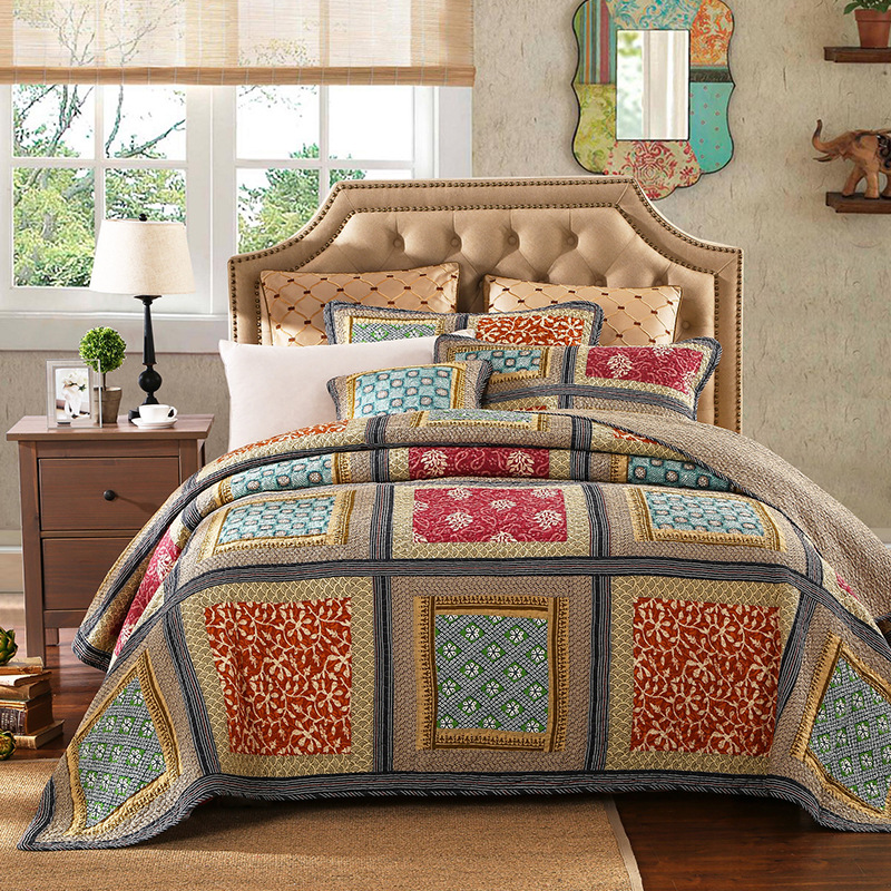 100% Cotton Reversible Coverlet Handmade Patchwork Chic Bedspread Bed cover 2 Pillow shams 3pcs King Queen Size BlanketQuilts   -