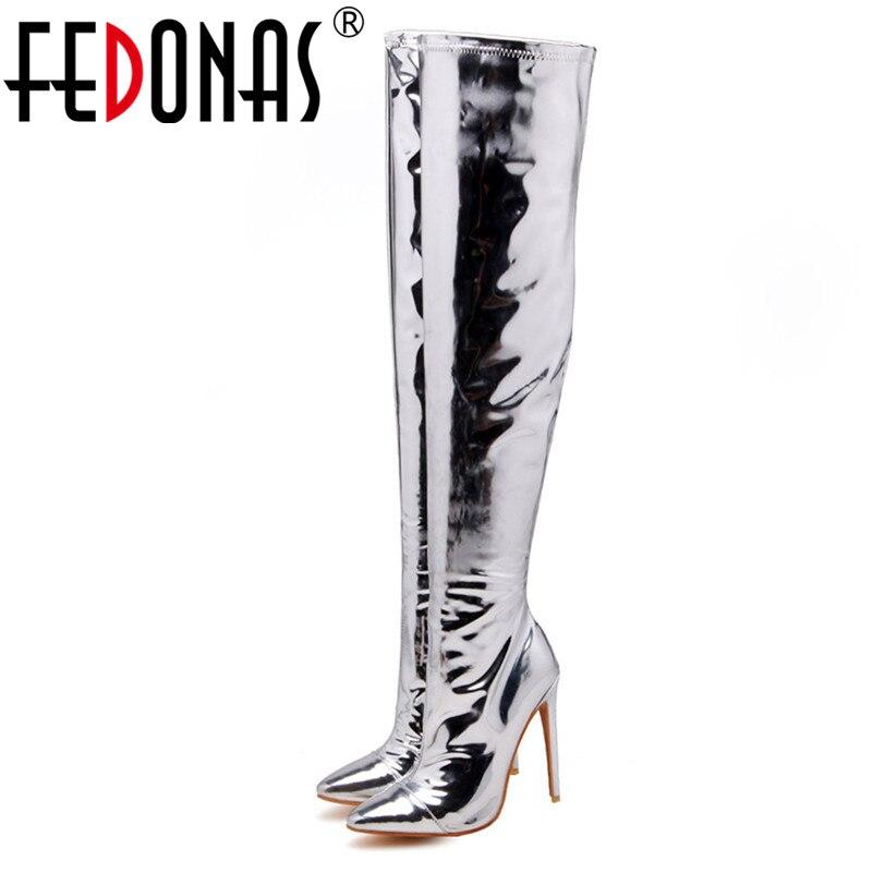 Femmes Chevalier De Talons Hauts Automne Pompes Genou Fedonas Chaussures Nouvelles Mariage Mince Hiver À Bottes Bal Soirée Argent Sur Le Haut vq65Zw