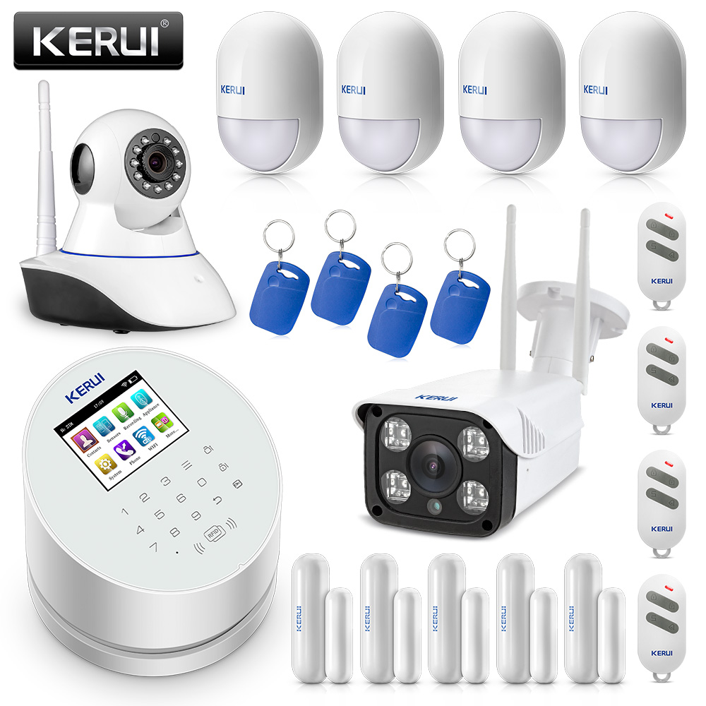 D'origine KERUI W2 WIFI GSM PSTN Système D'alarme De Sécurité Domestique Intelligent Avec Caméra IP WIFI RFID Disalarm Système D'alarme Antivol