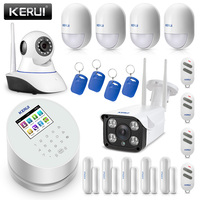Original KERUI W2 WIFI GSM PSTN Security Alarm System Smart Home With IP WIFI Camera RFID Disalarm Burglar Alarm System