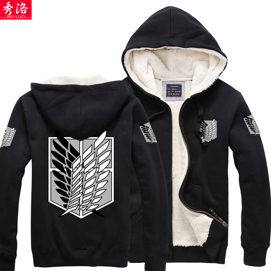 Thicken Shingeki no Kyojin Attack on Titan Eren Jager Giant berber fleece jacket font b hoodie