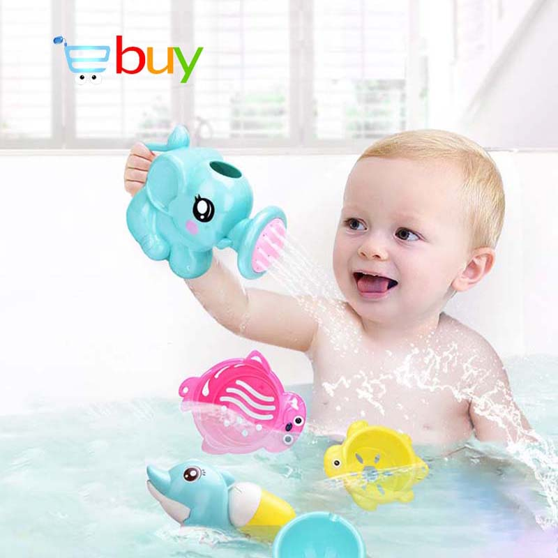 2 Pcs Baby Shower Bath Toys Elephant Kettle Dolphin Water Spraying Pistol for Child Kids Toddler Bathtub Bathroom Swimming Pool baby toys
