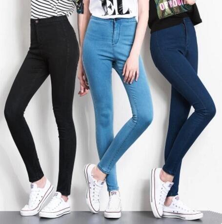 Jeans Woman Plus Size 5XL 6XL 2017 Elastic High Waist Denim Jeans Casual Skinny Pencil Pants High Waist Women Trousers