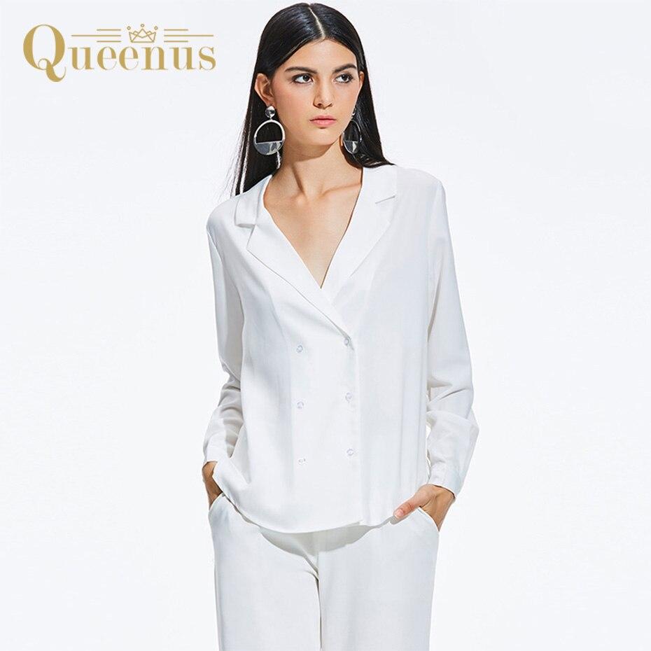 Queenus Women Blouse Straight Fashion Casual Long Sleeve Lapel Elegant Office Lady Shirt White Black Women