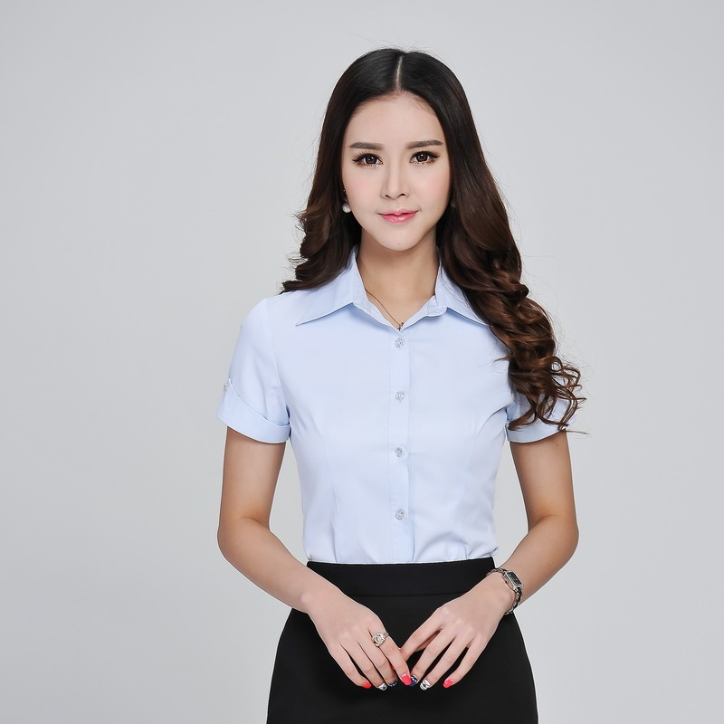 Formal Ladies Summer Shirts Women Work Blouses Light Blue