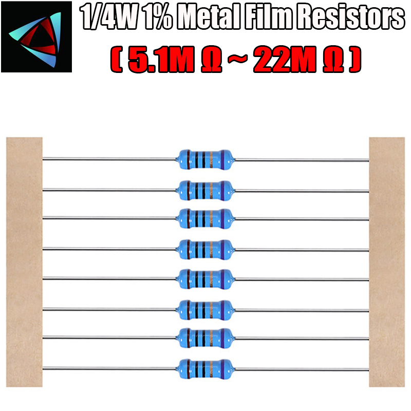 100pcs 1/4W 1% Metal Film Resistor 5.1M 5.6M 6.2M 6.8M 7.5M 8.2M 9.1M 10M 12M 18M 20M 22M Ohm