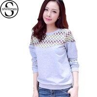Tee Shirt Femme Womens Tops Fashion 2015 Cotton Loose Women T Shirt Patchwork Striped T Shirt