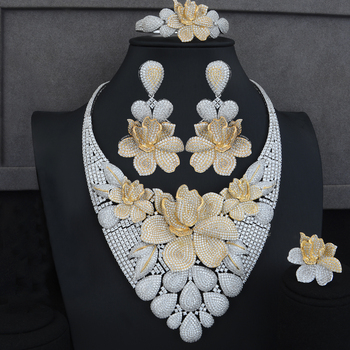 Big Peony Flower Jewelry Set