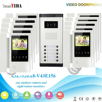 SmartYIBA 4.3 Wired Video Door Phone Intercom System Doorbell Entry with Wired Doorbell Camera for 10 units Apartment intercom