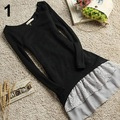2Pcs/Set Women Korean Casual Style Clothing Cotton Knitted Top + Strap Lace Dress