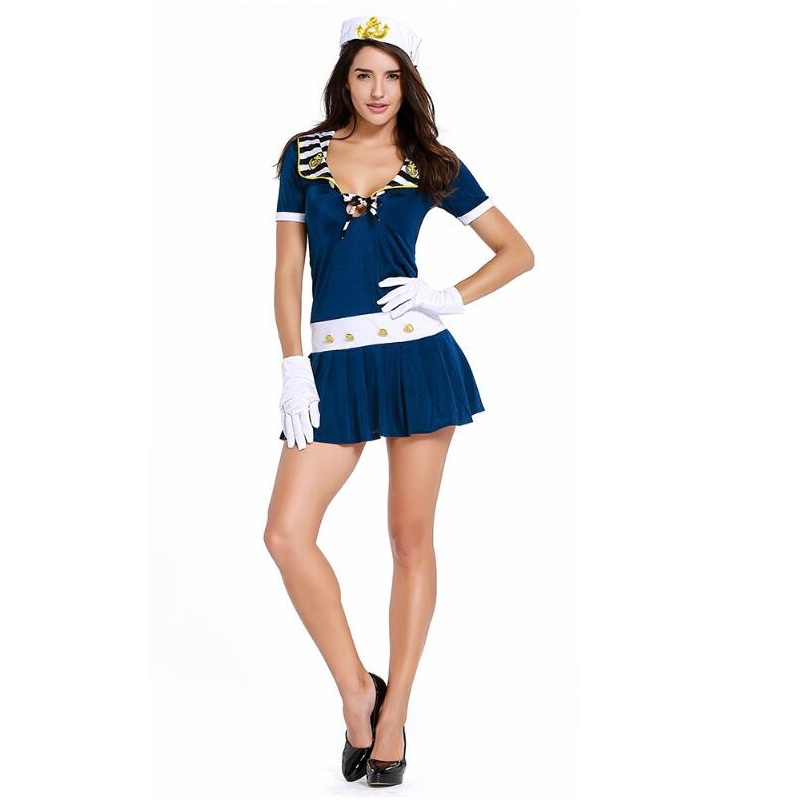 Sexy Girls Sailor Collar Padded Slim Fit Navy Blue -4040