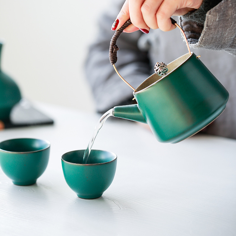 Poterie japonaise Antique théière ménage rétro en céramique théière avec poignée en cuivre Pots de boisson