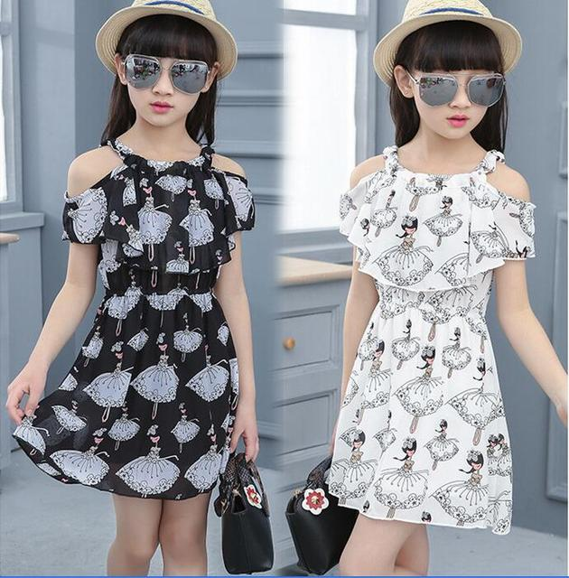 a2ae8797acf8 Summer Girl Dress Butterfly Floral Print Princess Dresses Baby Girls  Designer Formal Party Gray White Black Dress Kids Clothes