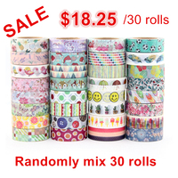 On sale price Randomly mix 30 rolls lot(set/kit) washi tape petal Animal Flower Paper Japanese Washi tape 15mm*10m Top quality
