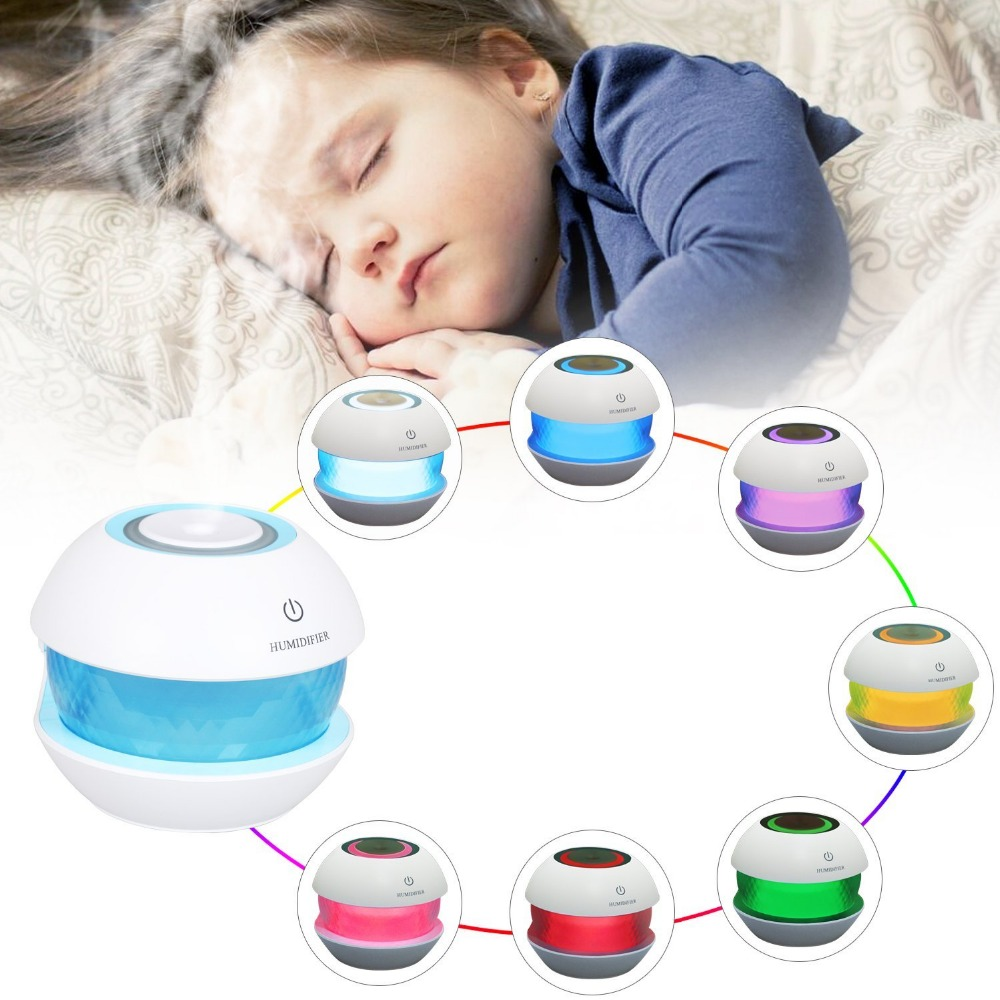 T-SUNRISE Ultrasonic Air Aroma Mini USB Humidifier 7 LED Colors Changing LED Night Lights For Adults Spa Home Small Baby Bedroom