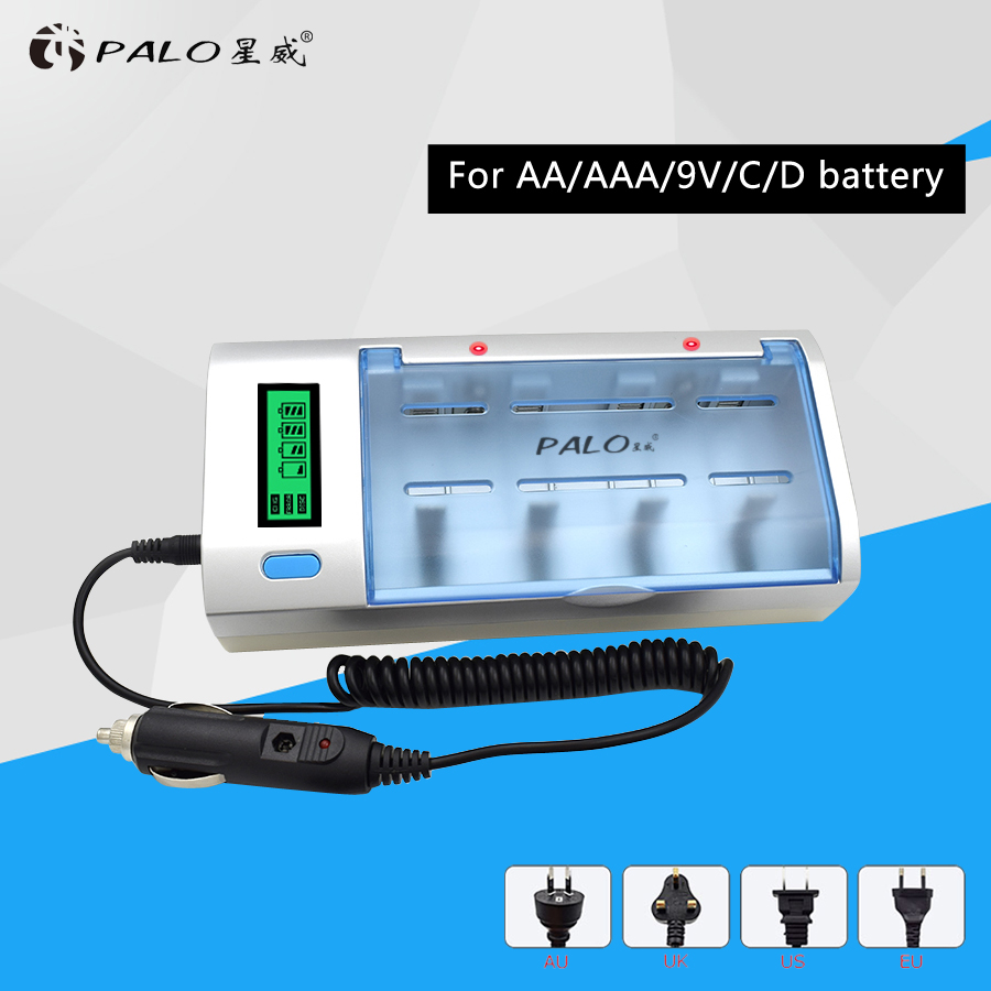 Original NC06 Smart Intelligent LCD Universal Battery Charger For AA AAA 9V C D Rechargeable Battery AU/EU/US/UK Plug original inmotion v8 charger for 84v li on battery vehicle us plug eu plug