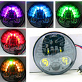 """RGB Remote Control 5.75"""" 5-3/4 inch Motor accessory led headlight projector Daymaker Headlamp with Parking light for Harley Dyna"""