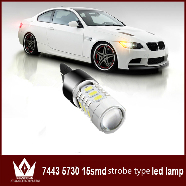 Guang Dian 1 bulb Car led Light tail lamp reverse lamp stop bulb backup light rear bulb Flash strobe type 7443 T20 w21/5w guang dian car interior lamp roof bulb