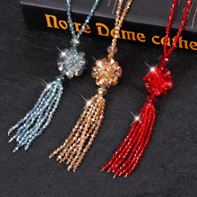 Korean National Geomancy Crystal Fashion Sweater Chain Long Female Autumn and Winter Baitalu Ball Necklace