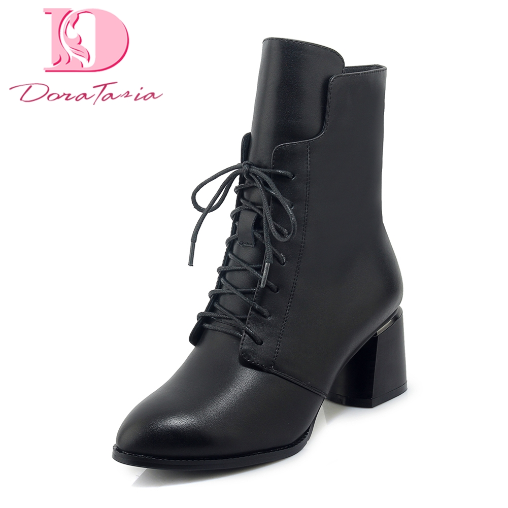цена на Doratasia Genuine Leather Hot Sale Cow Leather Ankle Boots Woman Shoes Hot Sale Chunky high Heels Boots Shoes Woman