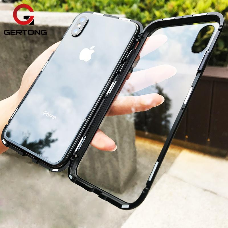 Luxury Magnetic Adsorption Metal Case for iPhone X 8 7 Plus Magnet Clear Tempered Glass Flip Cover for iPhone 6s 6 Plus