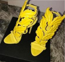 Hot Selling Ladies Shoes and Sandals Cut-out Yellow Patent Leather Leaf Decor Platform Sandals Gold Wing Cut-ous Sandals Women