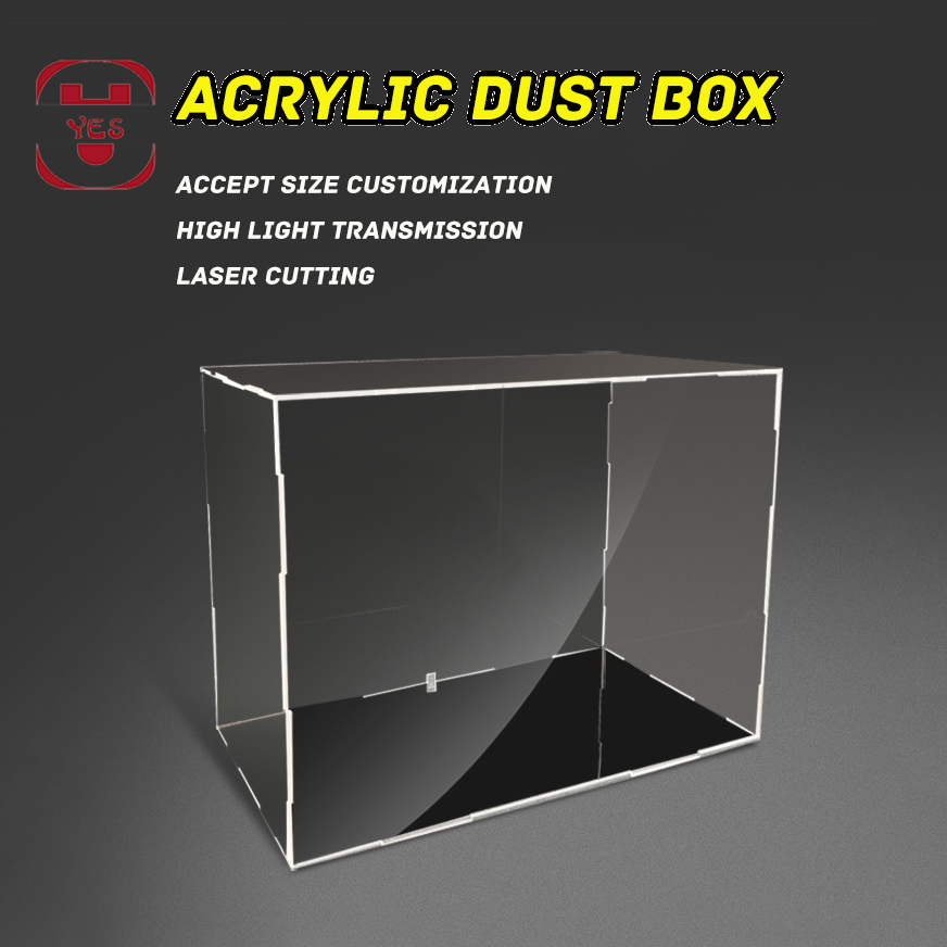 YES Acrylic High Transparent Dust Cover Display Box Storage Cabinet Black Base Can Customization For Gundam Doll Piececool Model