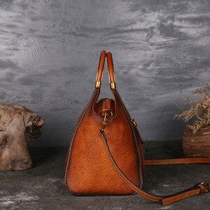 Image 3 - Luksusowe damskie torebki z prawdziwej skóry damskie Retro eleganckie torby na ramię skóra bydlęca ręcznie robione torby Womans
