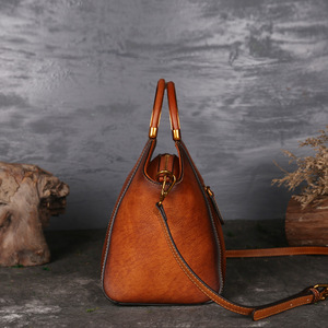 Image 3 - Luxury Women Genuine Leather Handbags Ladies Retro Elegant Shoulder Messenger Bag Cow Leather Handmade Womans Bags