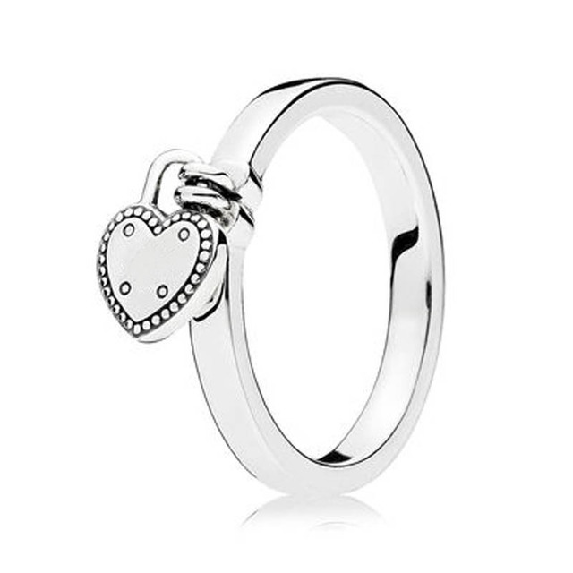 S925 Sterling Silver Fashion Ring For Women Love Lock Girl Finger Birthday Gift Wedding