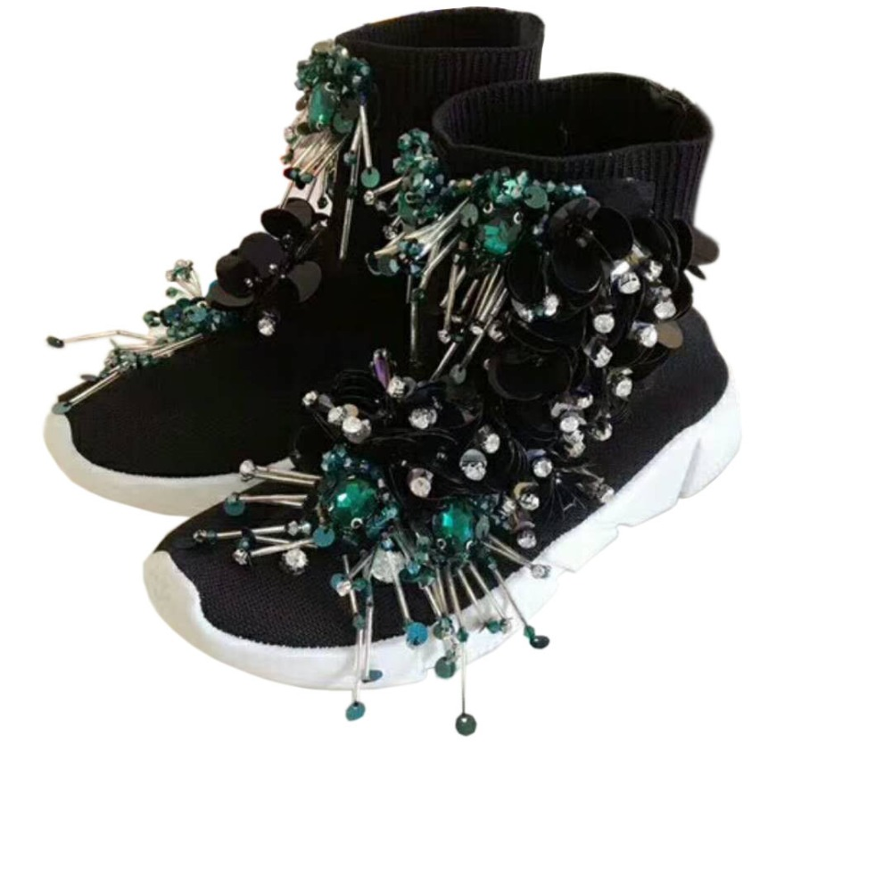Tassel Beaded Sequins Black Socks Shoes Women s Knit Ankle Boots High-top  Sneakers Custom-made Casual Shoes Sneakers WK92 bcd7bf13a5a5