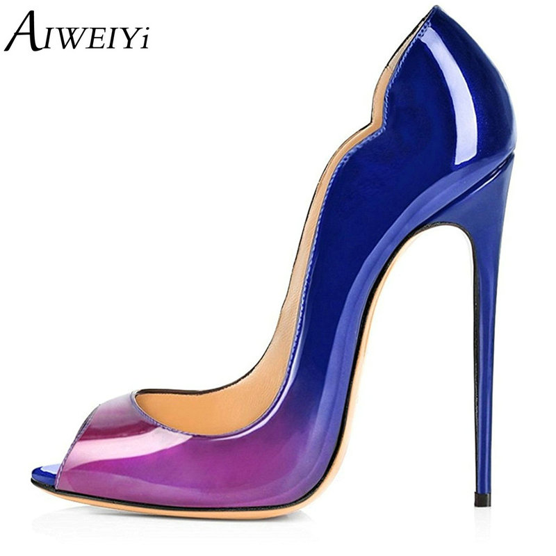 AIWEIYi Patent Leather Pumps Super High Heel Peep Toe Basic Shoes Women Fashion Slip On Heels Ladies Wedding Shoes Zapatos Mujer aiweiyi women high heel pump shoes 2018 pointed toe med heel high heels patent leather slip on platform pumps lady wedding shoes