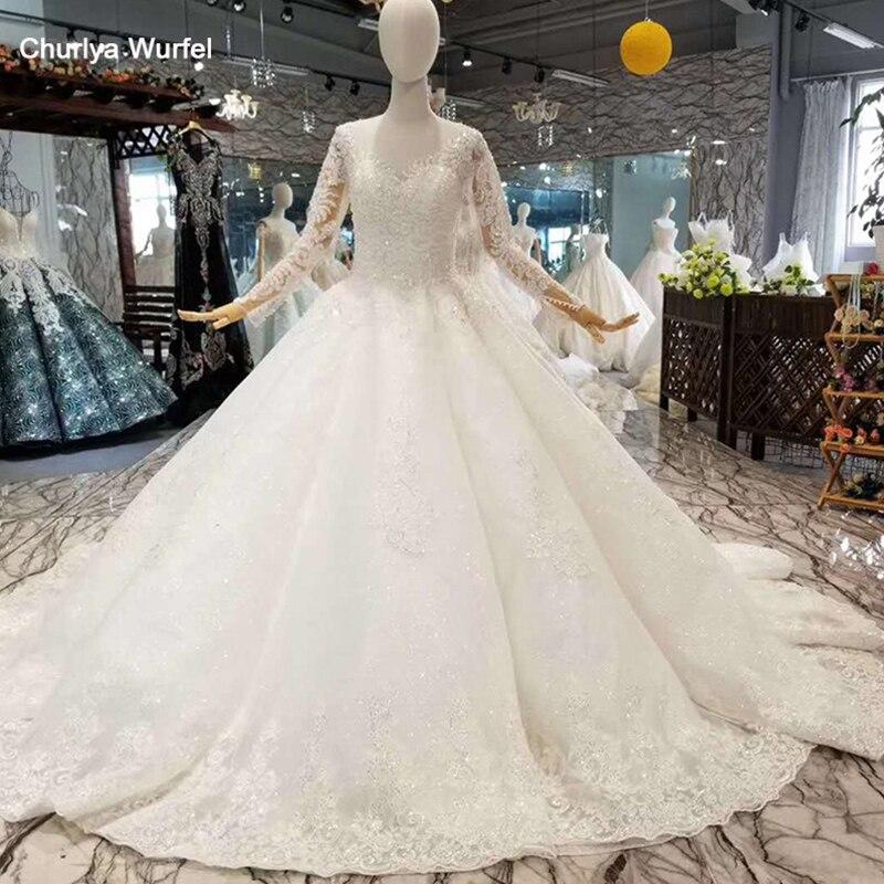 LSS058 muslim wedding dress o neck long sleeve lace up back bride wedding dresses 2018 china