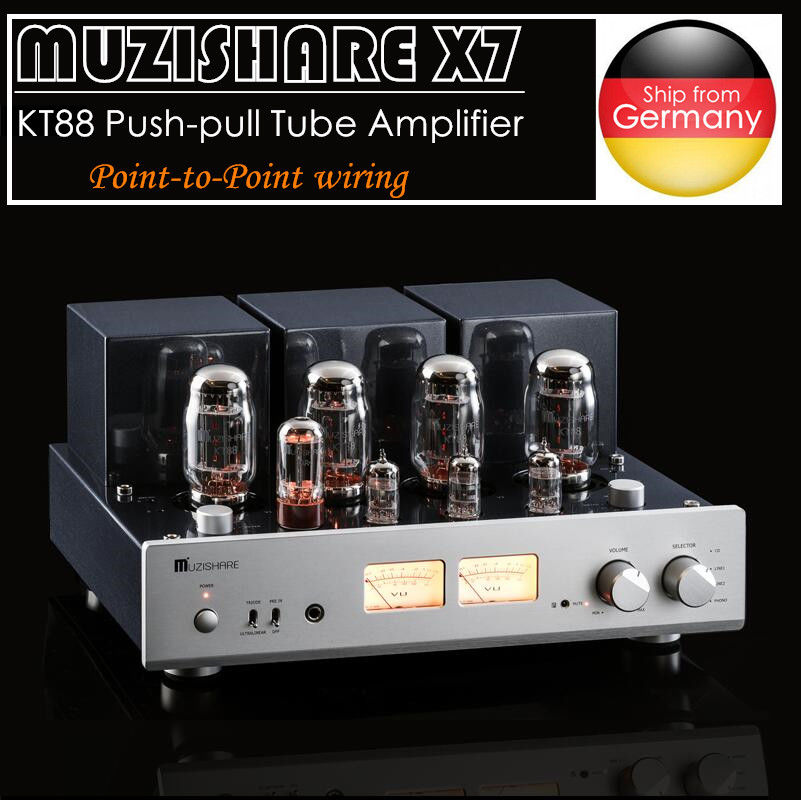 Latest MUZISHARE X7 Push-pull Stereo KT88 Valve Tube Integrated Amplifier Phono Preamp 45W*2 Power Amp music hall latest muzishare x7 push pull stereo kt88 valve tube integrated amplifier phono preamp 45w 2 power amp