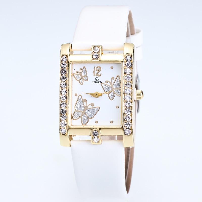 Ladies Fashion Quartz Watch Women Rhinestone Leather Casual Dress Butterfly Women's Watch Gold Reloje Mujer 2017 Montre Femme