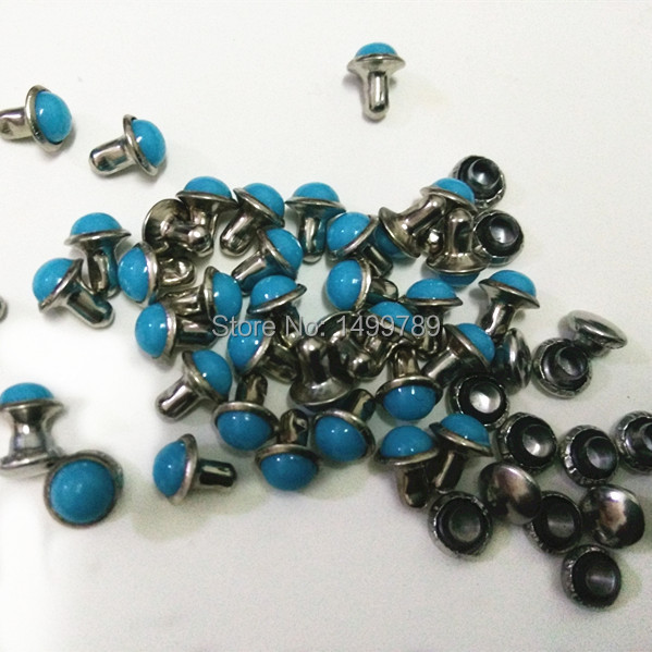 DIY100PCS 6mm Accessories Blue Turquoise Crack Rivets Leather Craft Punk Studs Shipping Free