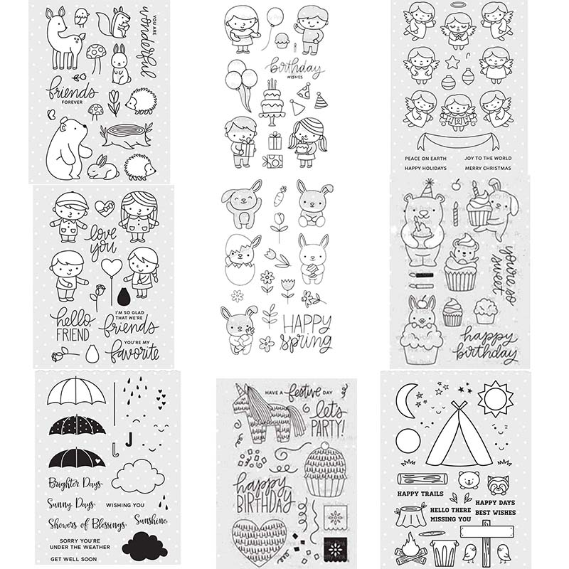Umbrellas Bear Rabbits Animals Boys Girls Transparent Clear Stamps for DIY Scrapbooking Paper Cards Making Decorative Crafts 4x6 in Stamps from Home Garden