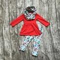2016 ОСЕНЬ/Зима шарф набор детей хлопок костюм детские лес животных девушки 3 шт красный длинные рукава брюки бутик одежда для детей