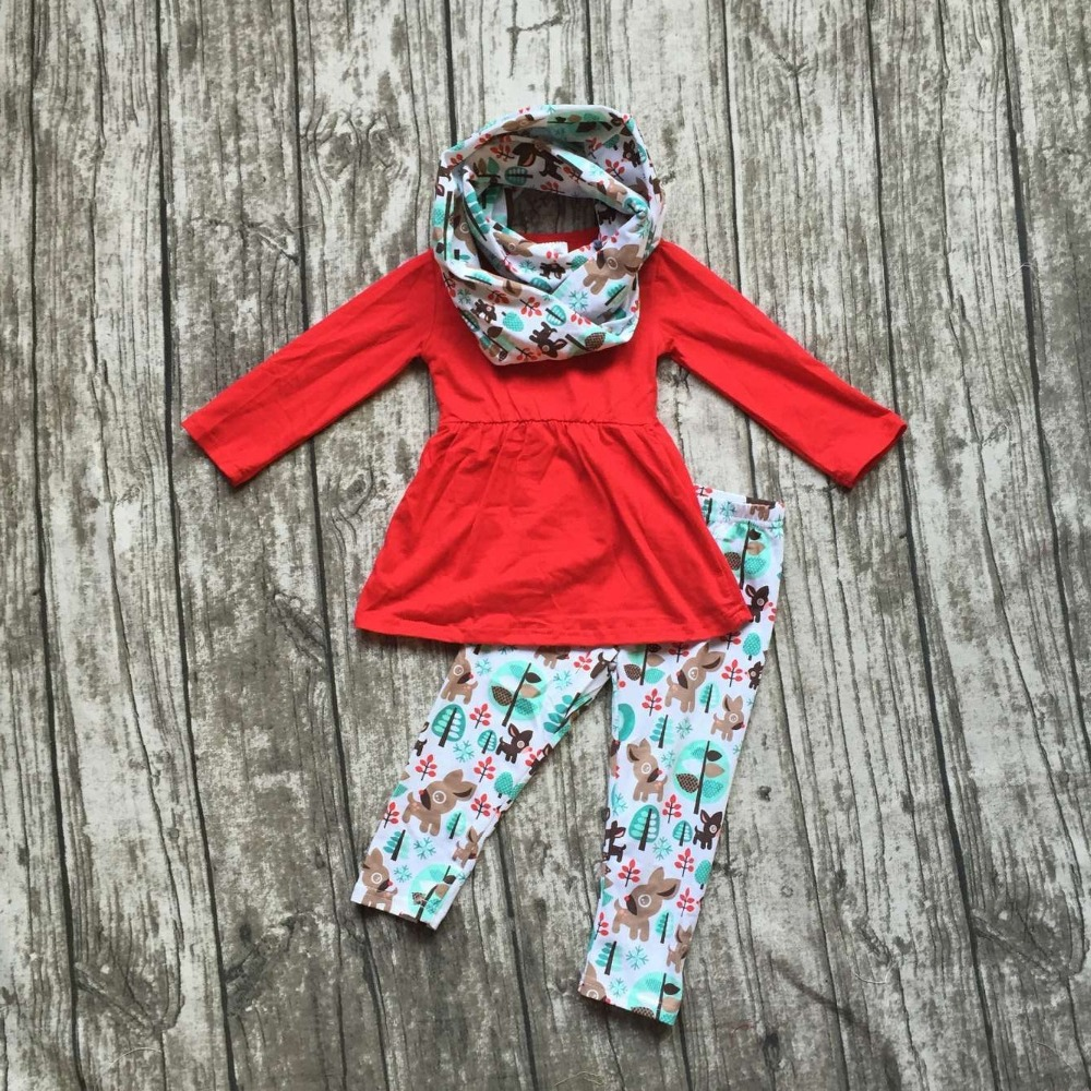 2016 FALL/Winter scarf set children cotton suit baby forest animal girls 3pieces red long sleeves pants boutique clothes kids  аккумулятор delkor 60r 65d23l 520 а обр пол 60 а ч