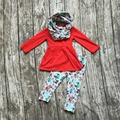 2016 FALL/Winter scarf set children cotton suit baby forest animal girls 3pieces red long sleeves pants boutique clothes kids