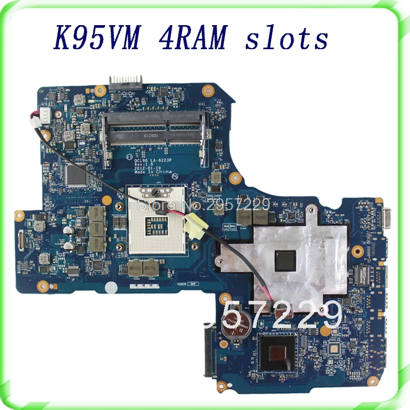 For Asus K95VM A95VM laptop motherboard with 4 ram slots HM76 2 DDR3 Fit For ASUS A95V K95V K95VJ A95VJ Mainboard 100% Tested hot for asus x551ca laptop motherboard x551ca mainboard rev2 2 1007u 100% tested new motherboard
