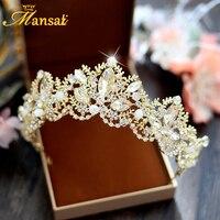 Gorgeous Handmade Crystal Beads Tiara Bridal Rhinestone Gold Tiara Pearl Wedding Hairwear Vintage Brides Hair Accessories