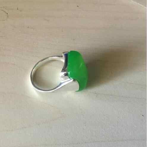 แฟชั่น13X16มิลลิเมตรธรรมชาติสีเขียวหิน925แหวนเงินขนาด7/8/9/10 valentiseของขวัญจัดส่งฟรี