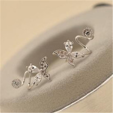 2018 New Arrival Hot Sell Fashion Butterfly 925 Sterling Silver Needle Stud Earrings For Women Jewelry Gift anti-allergic