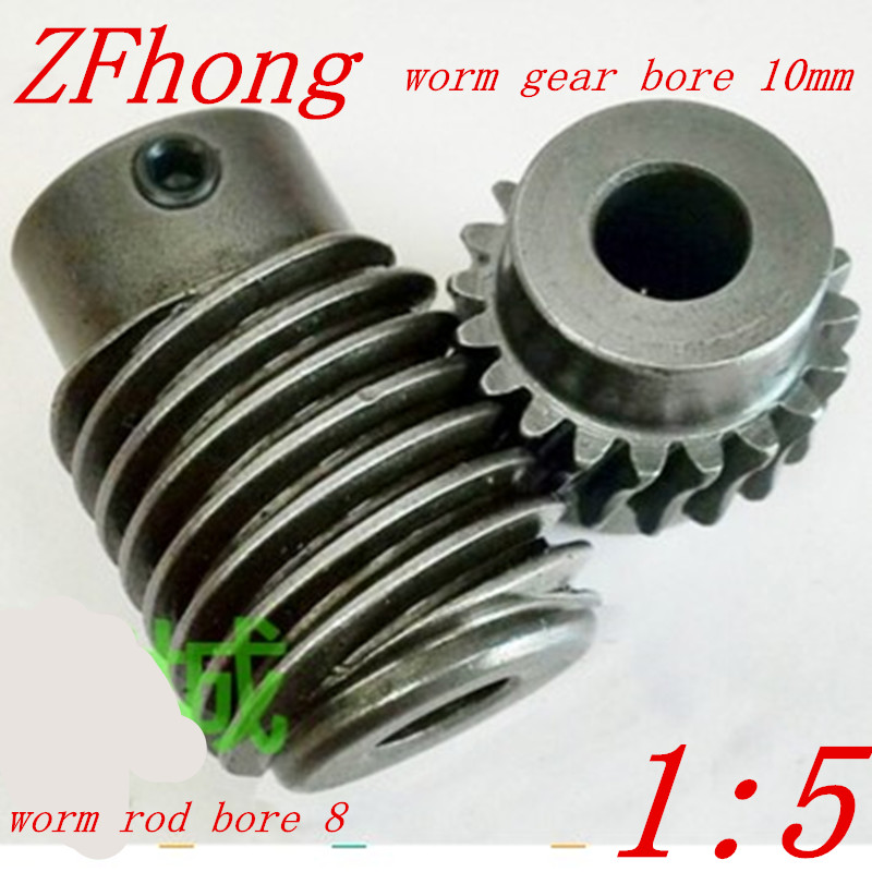 1M-20T ratio 5:1 Electric Motors steel Worm Gear Rod Set worm gear hole 10mm, rod hole 8mm 1m 40teeth 1 4 precision copper worm gear rod screw machine parts gear hole 8mm rod hole 6mm