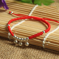 925 Sterling Silver  Small Bell Pendant Lucky Red Rope Shambala Bracelet  Handmade Bangle  Wax String  Amulet  Jewelry