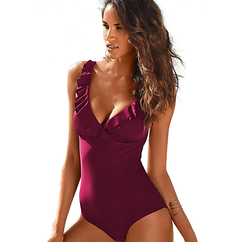 2019 New Vintage One Piece Swimsuit Women Swimwear Push Up Bathing Suit Ruffle Monokini Beach Wear Retro Swim Suit Female Beach Купальник