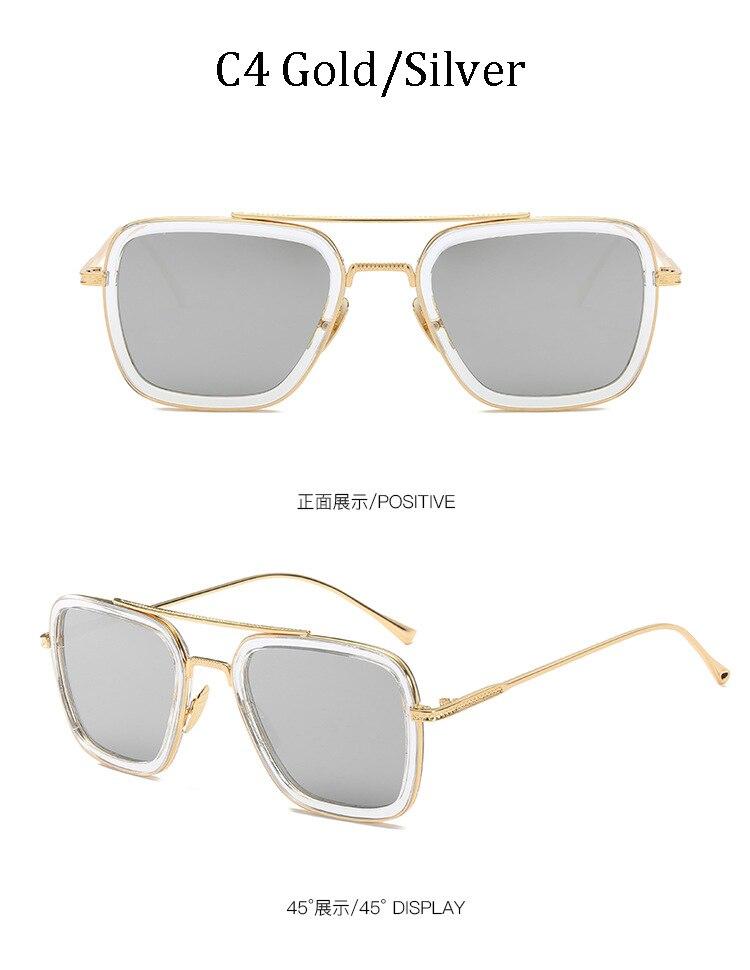 luxury Fashion Avengers Tony Stark Style for women Sunglasses Men Square Brand Design Sun Glasses Oculos Retro male iron Man 8