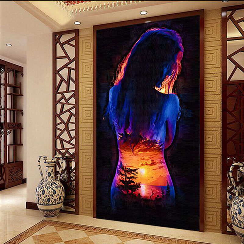 Large modern living room entrance backdrop 3D wallpaper mural painted landscapes sunset fashion human wall covering цена и фото