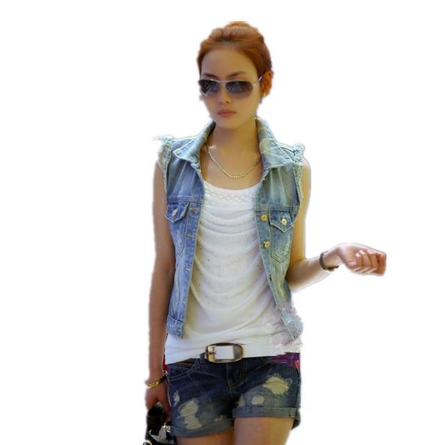 cad9023ed88 LinsDenim Big Size Women Retro Washed Sleeveless Personalized Cardigan  Vintage Jeans Denim Vest Waistcoat Coat Vest